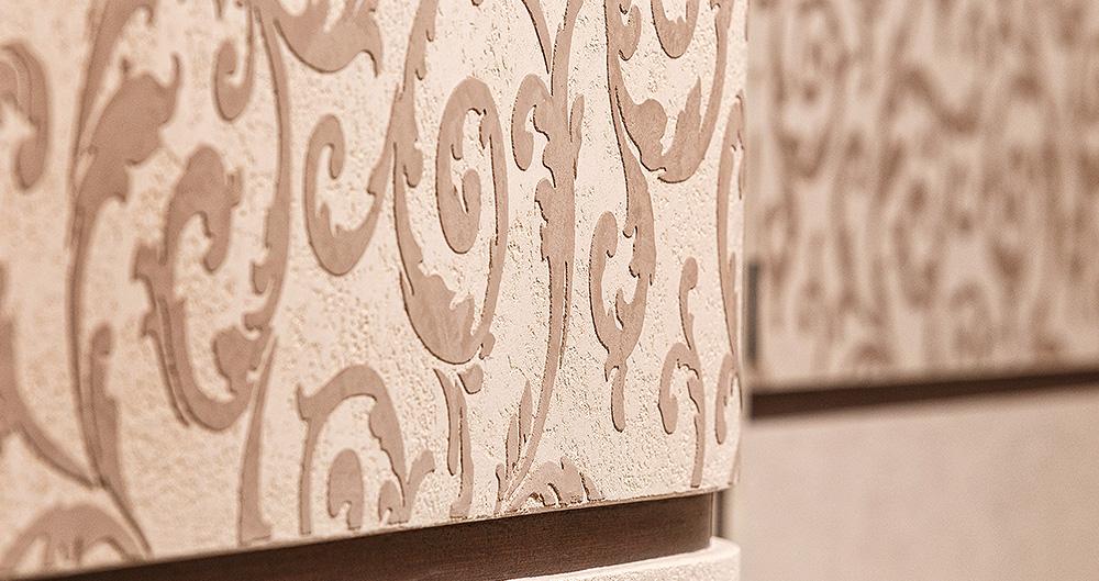 <b>Трафаретная техника &quot;Арт-фрей&quot;</b><span>В оформлении использована декоративная штукатурка VIVALDI PETRA и VIVALDI ASSOLO от ТМ La Calce Del Brenta</span>